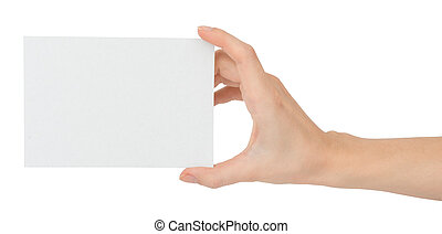 Womans hand holding empty card
