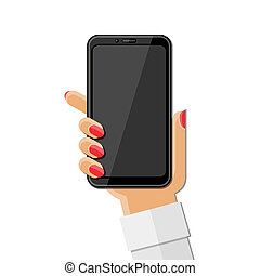 Woman's hand holding smartphone