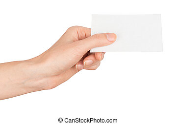 Womans hand holding vertical small empty card