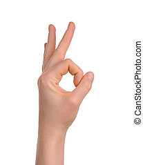 woman's hand showind okay sign isolated over white