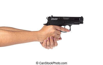 Woman's hand with a gun on a white background.