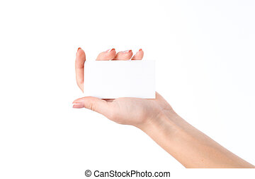 woman's hand with a white sheet of paper in the Palm