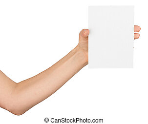 Womans hand with empty card