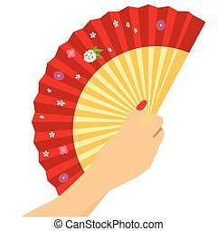 Woman's hand with open chinese red fan isolated on white background