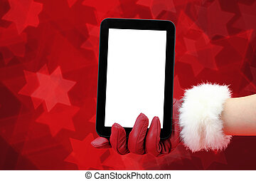 Woman's hand with red glove holding a tablet pc