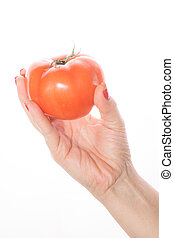 Woman's hand with red varnish shows tomato on a white background