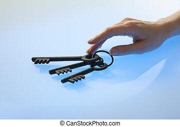 Woman's hand with retro keys