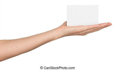 Womans hand with small empty card
