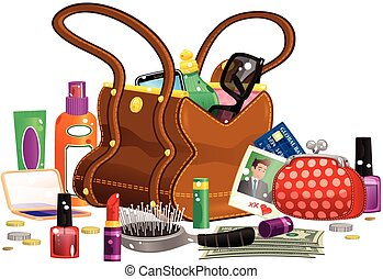 Womans handbag and contents - A females large leather...