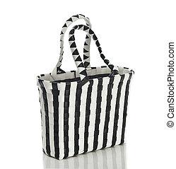 woman's handbag black and white