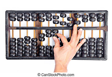 Woman's hands accounting with the abacus