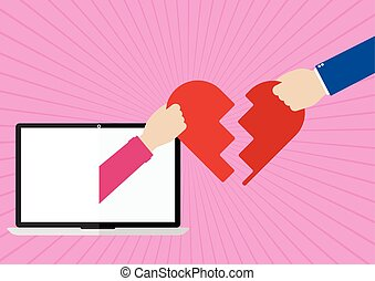 Womans hands appeared from laptop screen and man giving their own hearts to each other with I love you on pink sunray background. Flat design of Valentines day love online concept.