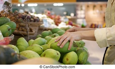 Womans hands choosing the fresh mangoes in the supermarket