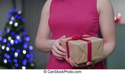Woman's Hands Holding a Christmas Gift