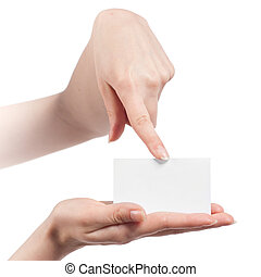 Womans hands holding and pointing empty visiting card isolated on white