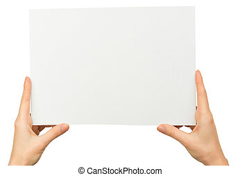 Womans hands holding blank card