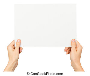 Womans hands holding blank paper