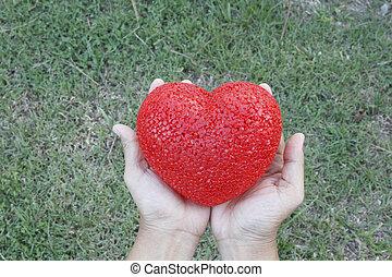 Woman's hands holding heart over grass