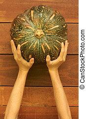 Woman's hands holding pumpkin
