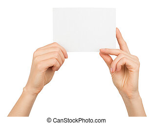 Womans hands holding small blank card