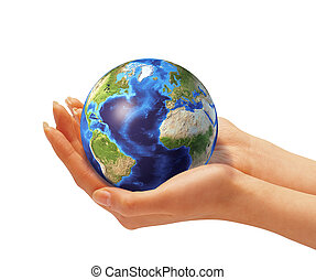 Woman's hands holding the earth globe. On white background....