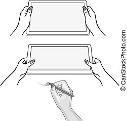 Woman's hands & tablet device - Woman's hands keeps tablet...