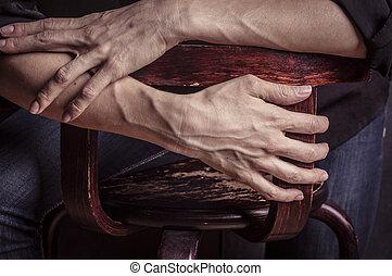Womans hands with blood veins. Emotional gesture. Studio...