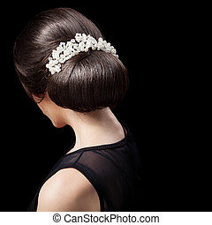 Woman's Head - Fashion Festive Coiffure with Pearls....