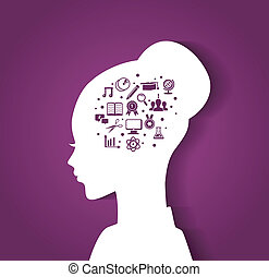 Woman's head with education icons - Vector illustration of...