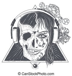 Womans head with half face skull engraved vector