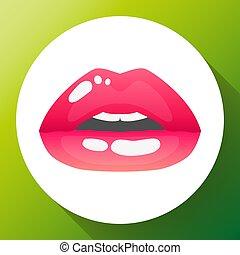 womans, illustration, läpp, vektor, sexig, mouth., halva-öppna, röd