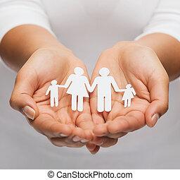 womans, kézbesít, noha, dolgozat, ember, család