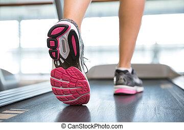 womans, lábak, futás, képben látható, a, taposómalom