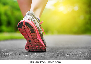 Woman's legs in shoes. - Woman's legs in shoes on runner ...