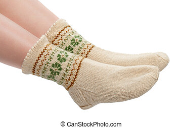 woolen socks - woman's legs in warm woolen socks isolated on...