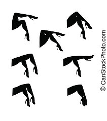 womans legs set in silhouette - variety of woman's legs in...