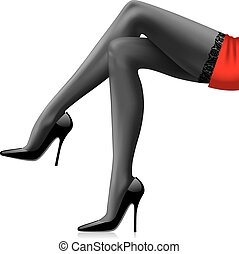 Woman's legs - Vector image of woman's black-stockinged...