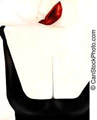 lips and chest - woman\'s lips and chest created in...