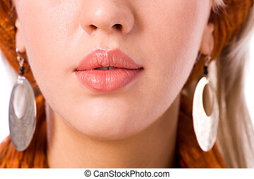 woman's Lips - Young woman's Lips and nose close up isolated...