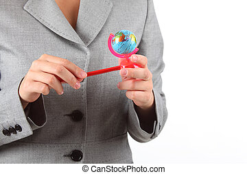 woman\'s, mãos, com, pequeno, globo