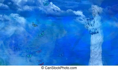 Womans marble statue and butterflies. High quality footage