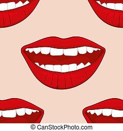 womans, modello, seamless, labbra, vettore, sorridente, rosso