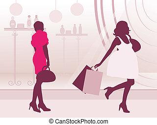 Womans near the showcase. Vector illustration.