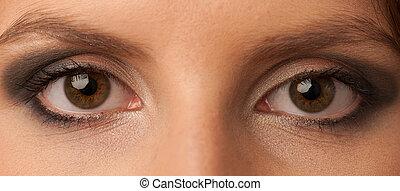 womans, olhos, com, bonito, maquilagem