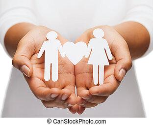 womans, par, avis, hænder