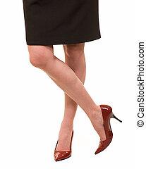 woman\\\'s, pernas, desgastar, vermelho