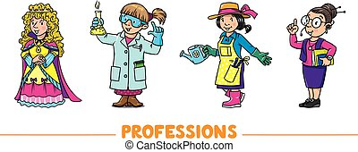 Womans professions. Vector funny characters set 2.