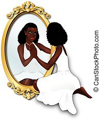 Woman's Reflection - Vector Illustration of a woman seeing...