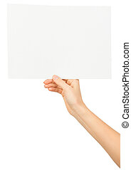 Womans right hand holding blank paper