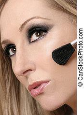 woman\\\'s, rosto, e, escova maquiagem